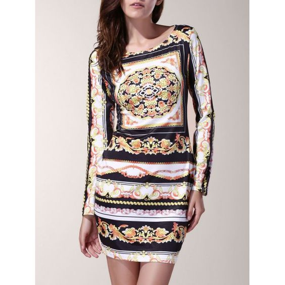 Vintage Floral Print Slash Neck Long Sleeve Dress For Women — 9.29 € Size: S Color: COLORMIX