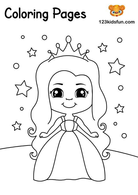 Free Coloring Pages For Girls And Boys 123 Kids Fun Apps Unicorn Coloring Pages Princess Coloring Princess Coloring Pages