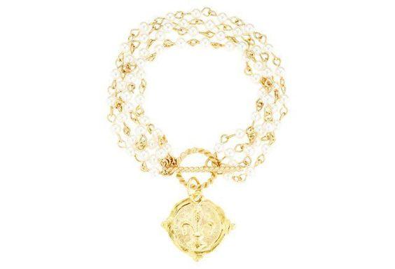Pearl & Fleur-de-Lis Bracelet Like a lot. See matching necklace