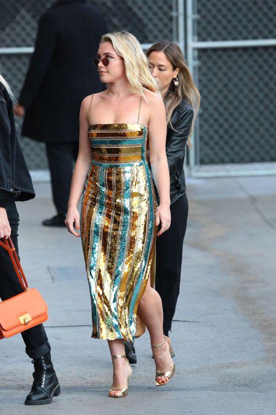 Little Women Star Florence Pugh In Galvan London At Jimmy Kimmel