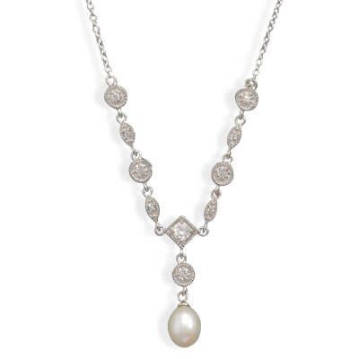 Rhodium Plated Cultured Freshwater Pearl & Marquise/Round CZ Necklace