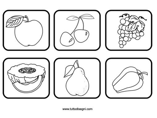 Contrassegni frutta da colorare fruit and veg for Memory da stampare