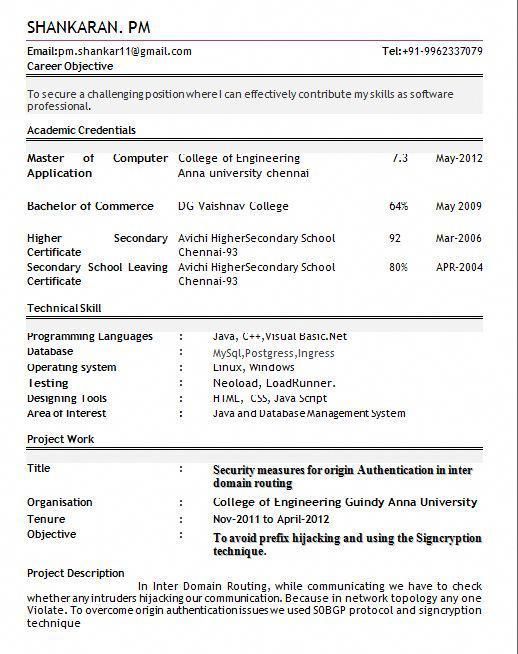 Pin By Sanjay Kumar On C Resume Format For Freshers