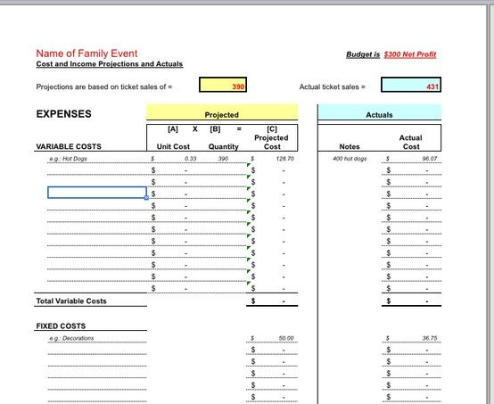Customizable Family Reading Night Cost Model, Excel