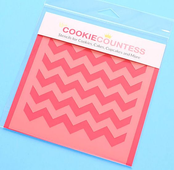Use the chevron cookie stencil to decorate cookies, chocolate covered Oreos, fondant cupcake toppers and more! Stencil on the designs with royal icing, airbrushing or even our edible food paint powder