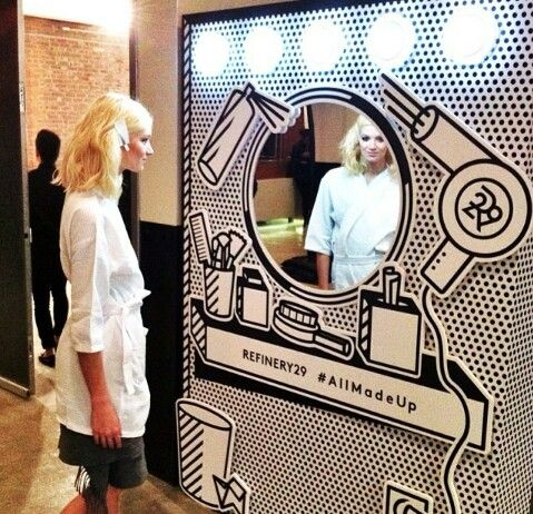 Refinery29 does a branded selfie mirror display retail for Creative selfie wall
