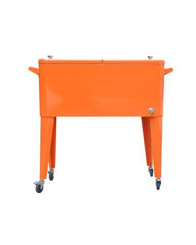 80 Qt. Rolling Patio Cooler Orange