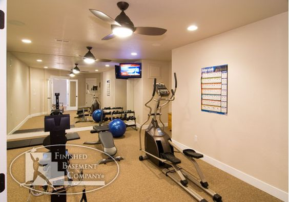 basement workout room remember to put in ceiling fan