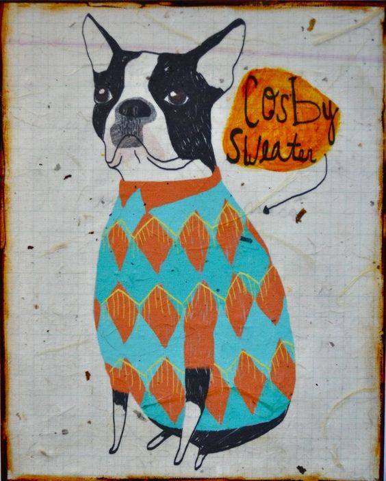 boston terrier in a cosby sweater