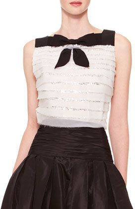Carolina Herrera Sleeveless Tiered Bow Top, Ivory/Black    | ≼❃≽ @kimludcom