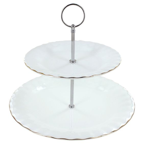 A Gold Touch Porcelain 2 Tier Cake Stand