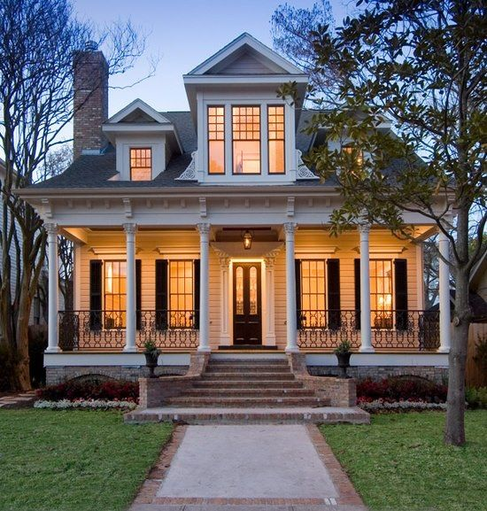 This style could be used to remake a plain symmetrical house: add new roof  lines, dormers, porch. | Home sweet home | Pinterest | Southern, Porch and  House