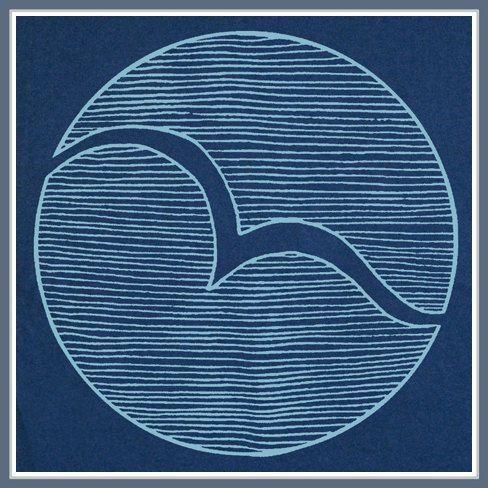 """A partir desta imagem pensei que seria possível trabalhar com uma ave também.  Instead of a seagull, maybe """"SaMo"""", """"Malibu"""", or waves with shark fin."""
