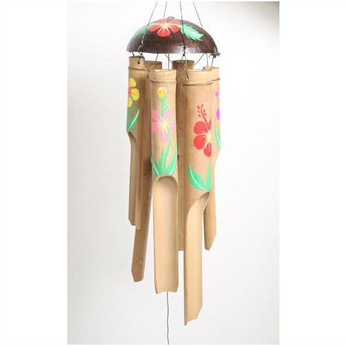 Shared Earth lge bamboo wind chime windchime 48cm floral hand painted fair trade