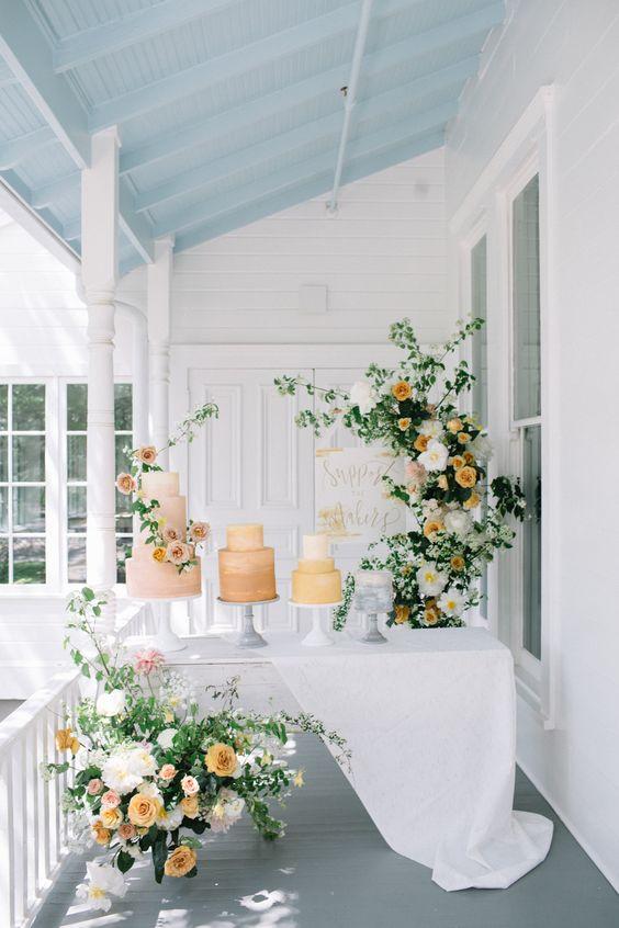 spring wedding colour scheme - cake table decoration