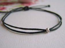 tiny silver heart black wax cotton cord string adjustable friendship bracelet
