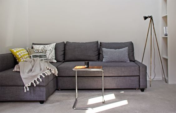 Ikea friheten sofa bed in skiftebo dark gray in a - Kleines wohnzimmer groayes sofa ...