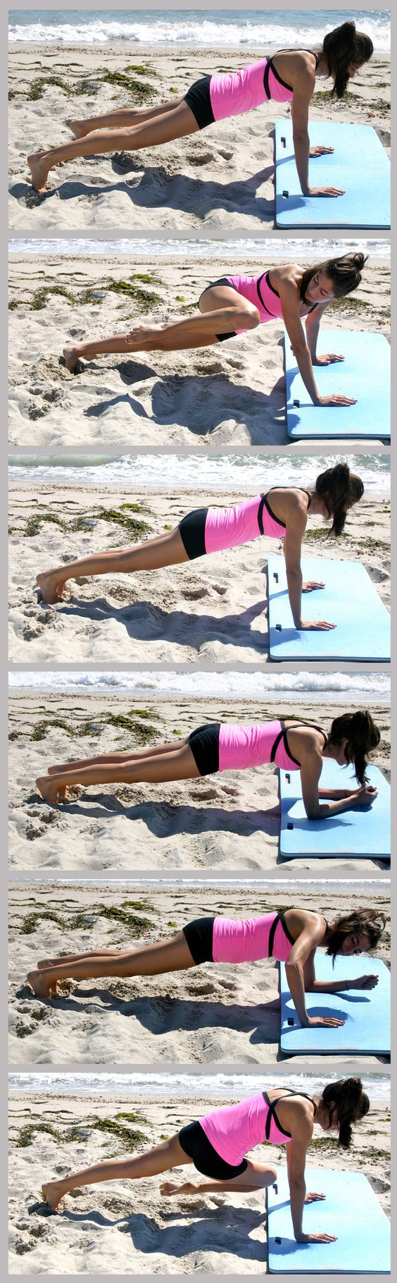 FEEL THE BURN! Plank Workout - Do each of the 6 moves for 20 seconds. Repeat entire 2-minute circuit 3 times, taking a 30-second break in between each round.