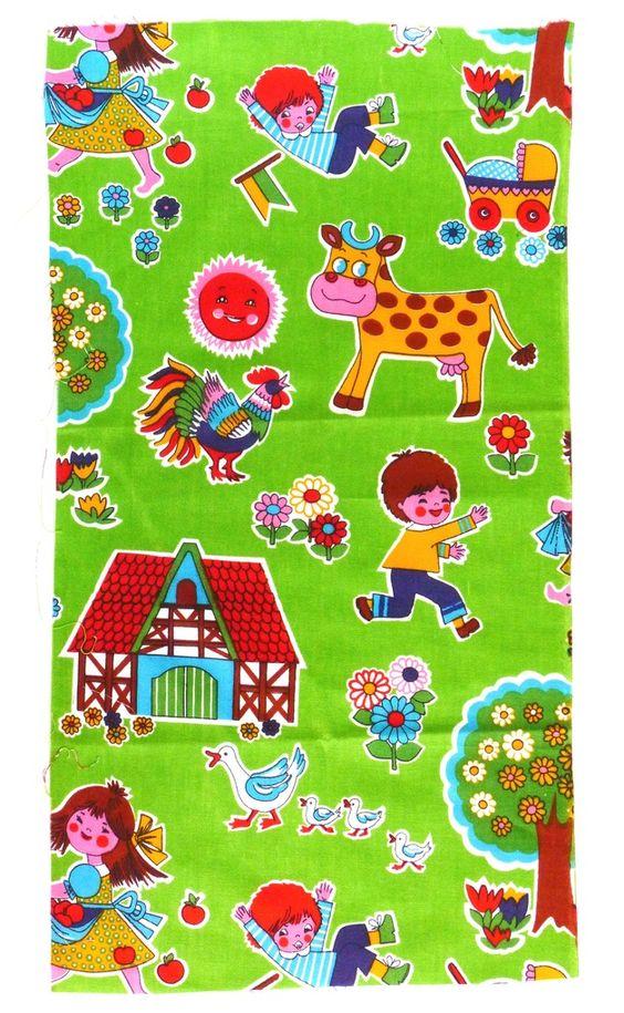 """Vintage Stoffe - 70er Stoff Fabric Stoffrest """"Ferien"""" 75x40 cm - ein Designerstück von VintageGoods bei DaWanda"""