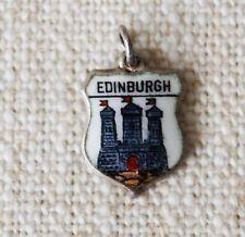 Vintage Silver & Enamel EDINBURGH Travel Shield Charm for Bracelet