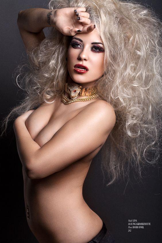 Platinum haired model