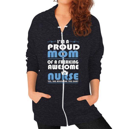 Nurse mom Zip Hoodie (on woman)