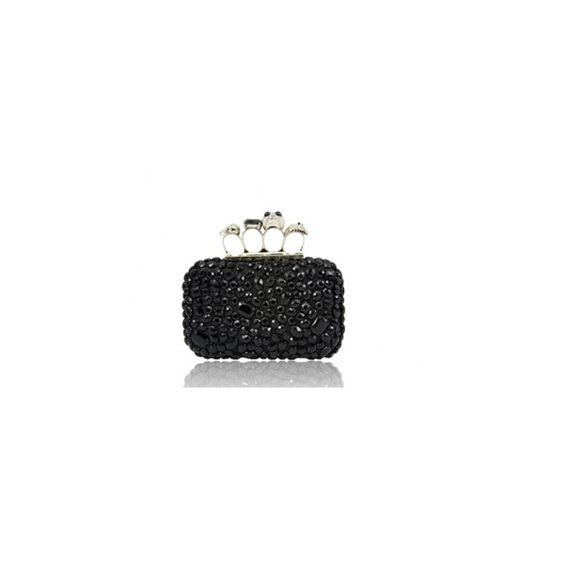 Alex Black Glass Bead Bag via Polyvore