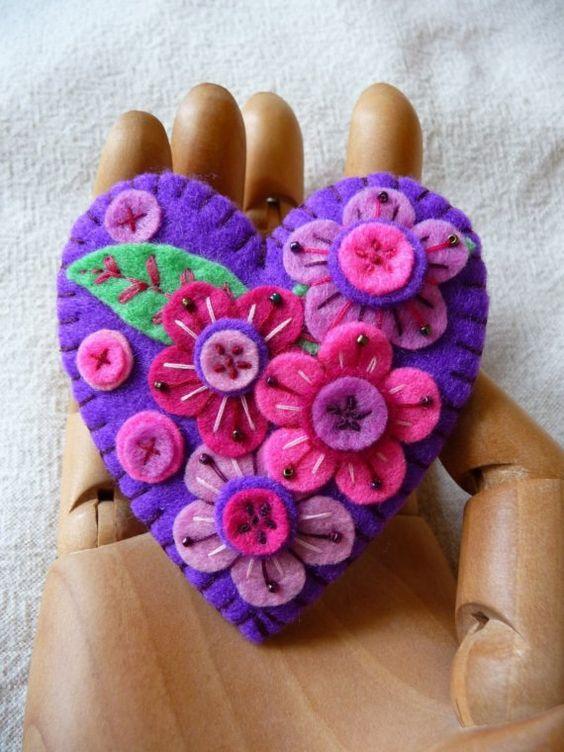Purple Heart Shape Felt Brooch