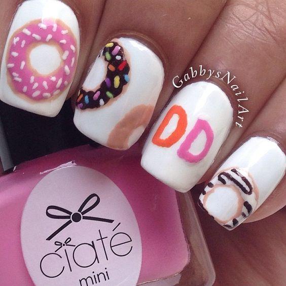 Creative nails. gabbysnailart Dunkin' Donuts. Nail art. Nail design. Polish. @Molly Simon Schenck @Anna Totten Bowles @Lauren Davison Kelly