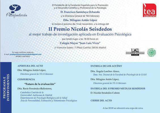 Invitación a la Entrega del II Premio Nicolás Seisdedos