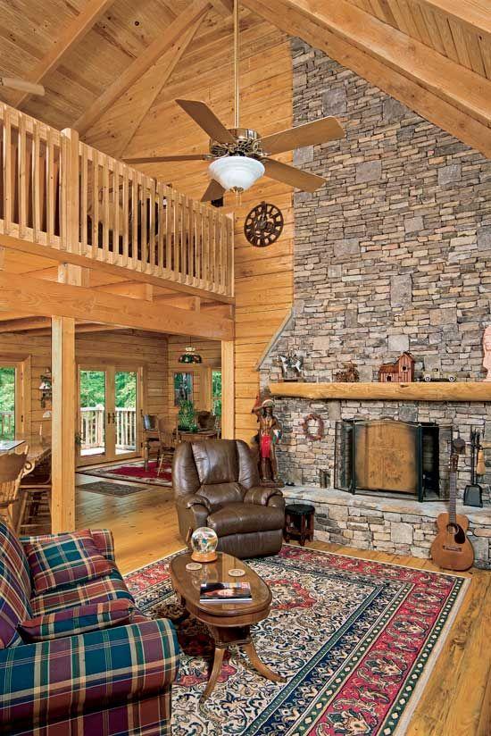 Suwannee River log homes great room
