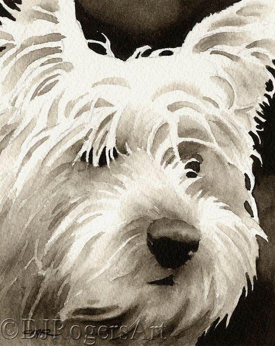 West Highland Terrier sépia Art imprimé signé par aquarelliste DJ Rogers