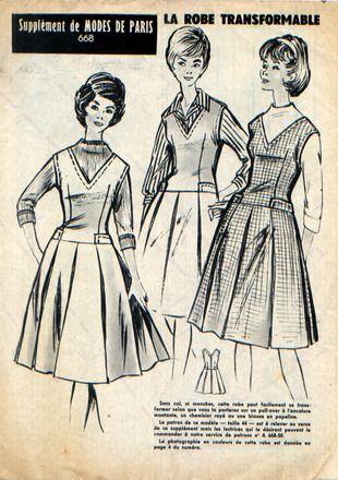Jolie robe, sans manches, décolleté en V, taille légèrement descendue, petits rabats de poches à la ligne de taille, jupe à plis creux. Marqué taille 44, correspondant à u - 7673252