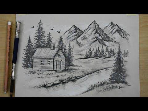 تعلم رسم منظر طبيعي بالرصاص خطوة بخطوة بشكل احترافي خطوات رسم منزل وبحيرة وجبال وطيور في الريف Youtube Art Decoupage Art Easy Drawings