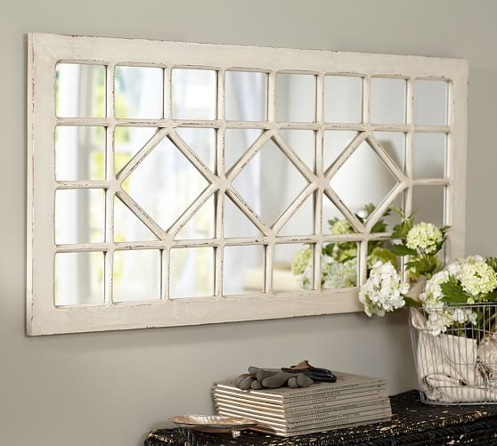 Pottery Barn Trellis Mirror 269 Vs Kirklands Distressed Cream Marquis Pane Mirror 80 Trellis Mirror Living Room Mirrors Mirror Over Couch Farmhouse Mirrors