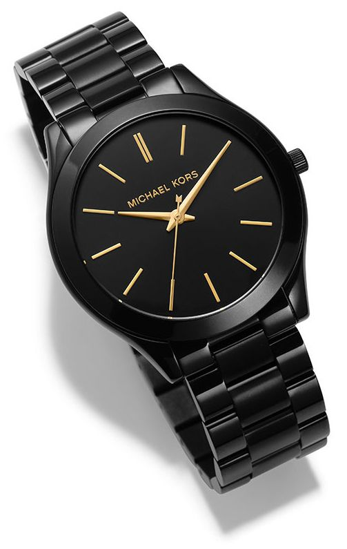 """BLACK + GOLD = COOL AND CLASSIC"""" Style Tip: Think of this watch as the """"Little Black Dress"""" of your accessory wardrobe: Always in style, adaptable and alluring. Elevate a simple tee and jeans combination, ground stripes, florals and animal prints, or complement a gorgeous gown."""