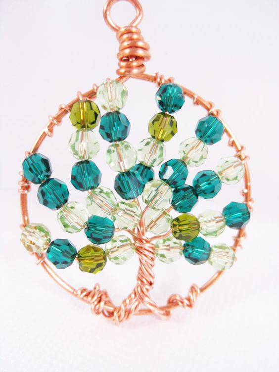 Emerald and Peridot Crystal Copper Tree of Life Necklace. $30.00, via Etsy.