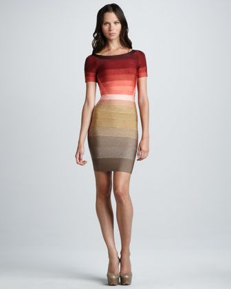 Ombre-Stripe Short-Sleeve Bandage Dress by Herve Leger at Neiman Marcus.