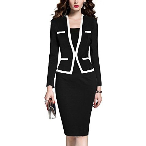 MUSHARE Women's Colorblock Wear To Work Business Party Bodycon One-Piece Dress (Black+White, Large)   One piece dress, Business dresses, Wear to work dress