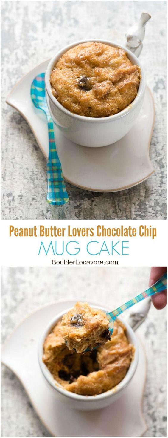 Peanut Butter Lovers Chocolate Chip Mug Cake. Rich, flourless peanut butter cake…