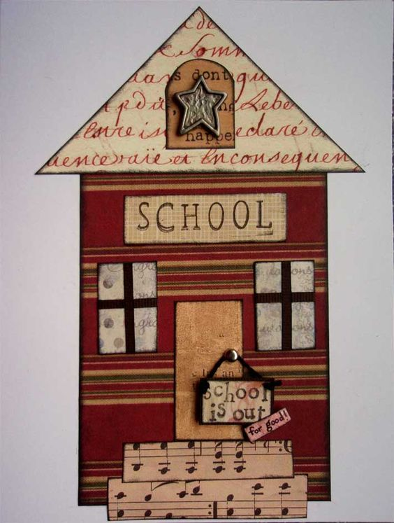 Elementary School Teacher Retirement Card. Why are you making a funky multi patterned building? Because it is an old fashioned school house for to send to your cousin who is retiring.