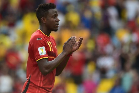 Goalscorer Belgium's forward Divock Origi celebrates with teammates after victory in the Group H football match between Belgium and Russia at The Maracana Stadium in Rio de Janeiro on June 22, 2014, during the 2014 FIFA World Cup.