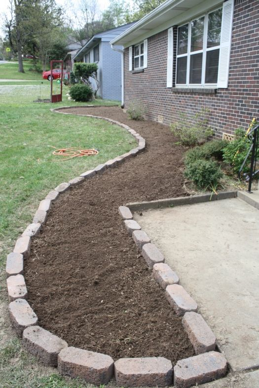 DYI Flower Bed...definitely need to do this in the front yard :) Exactly the layout I was looking for.