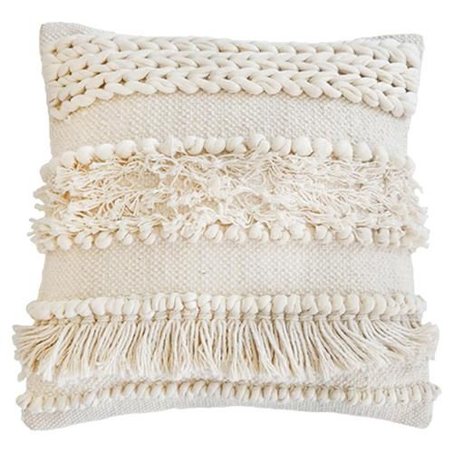Pom Pom Pillow Ivory | Throw pillows