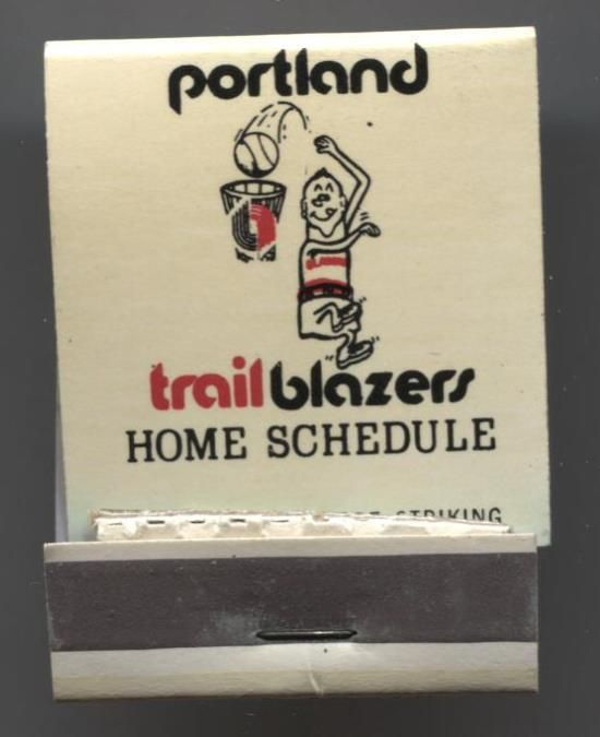 1972-73 MATCHBOOK COVER with PORTLAND TRAIL BLAZERS SCHEDULE