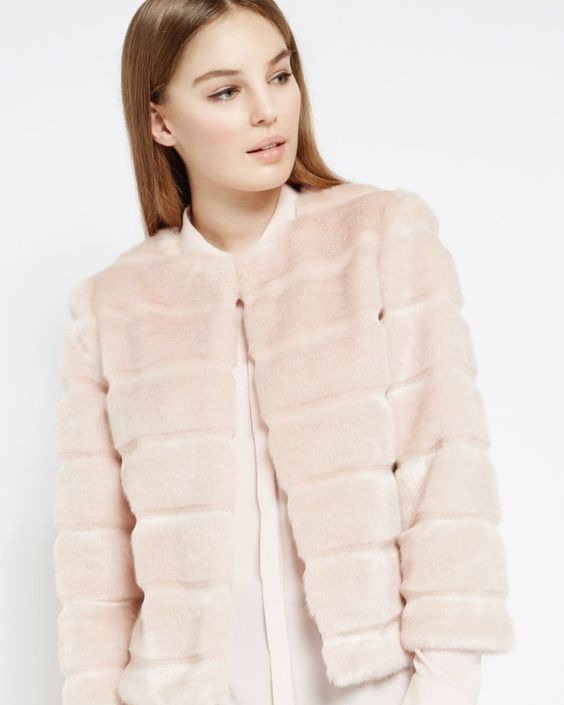 Faux fur cropped jacket - Nude Pink | Jackets &amp Coats | Ted Baker