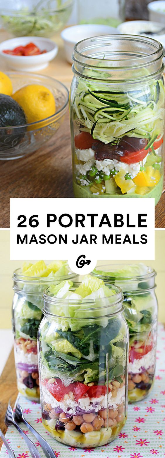 26 Healthy and Portable Mason Jar Meals #masonjar #recipes http://greatist.com/eat/mason-jar-recipes