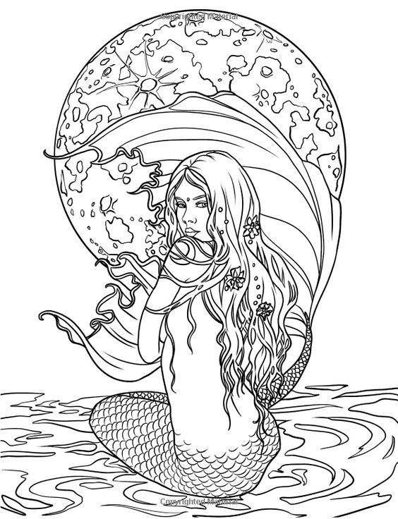 Mermaid On A Rock Coloring Pages Portraits