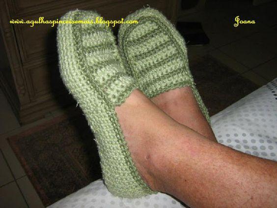 Agulhas e Pinceis: Sapato de crochê adulto masculino