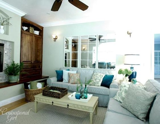 blue family room. lots of budget friendly decorating ideas.